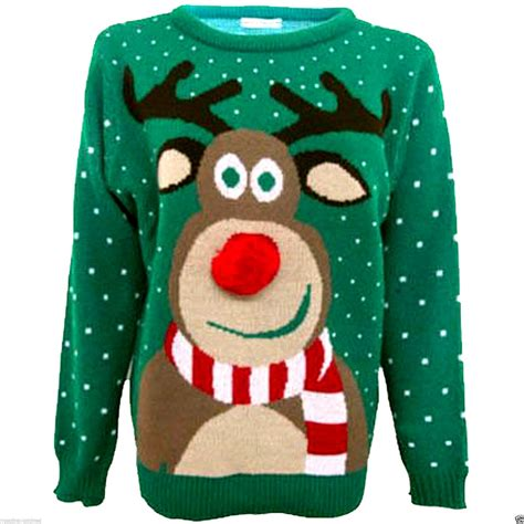 novelty knitted jumpers mens unisex novelty rudolph reindeer winter knitted