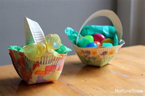 craft paper basket paper plate easter basket craft nurturestore