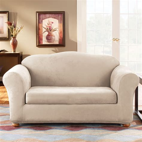 sure fit stretch sofa slipcovers sure fit slipcovers form fit stretch suede 2 sofa