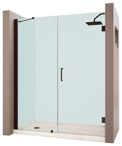 contemporary shower doors dreamline unidoor 57 to 58 quot frameless hinged shower door