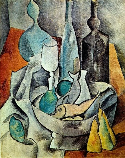 picasso paintings fish pablo picasso fish and bottles 1908