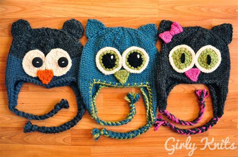 knitted animal hats quot owl be there quot family of animal hats by girlyknits craftsy