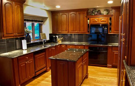 kitchen ideas cherry cabinets furniture light wood flooring with black granite countertop and glass window plus recessed