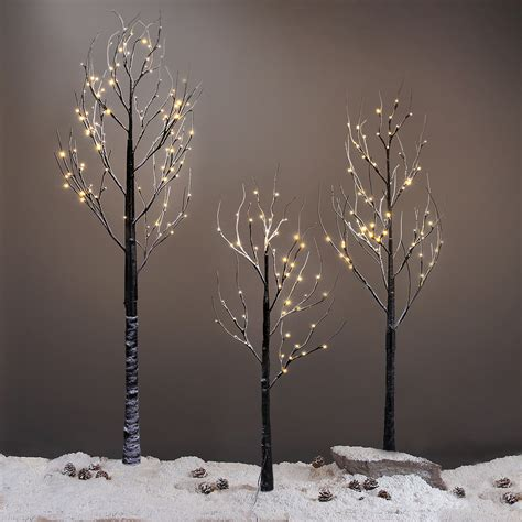 black twig tree 7ft 120led black twig snowy tree light for home