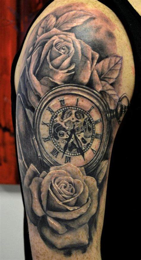 the 25 best clock and rose tattoo ideas on pinterest