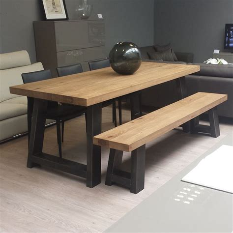 Dining Room Tables With Bench Seats Zeus Wood Metal Dining Table Doesn T Like The