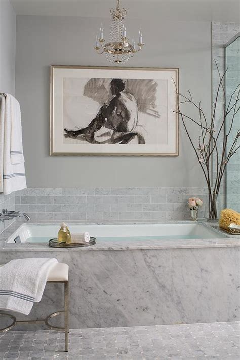 Spa Artwork For Bathrooms by Marble Clad Bathtub With Flea Market Chandelier