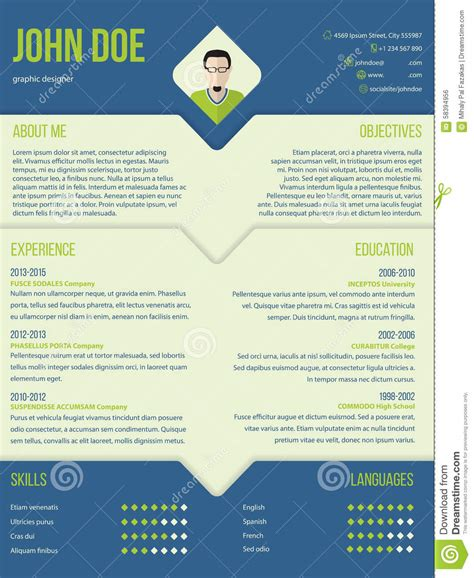 resume layout templates modern curriculum cv resume template design stock vector