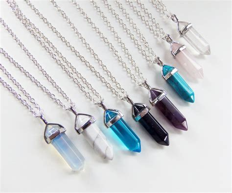 crystals for jewelry necklace quartz healing crystals hexagonal