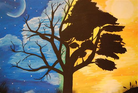 paint nite during the day and day painting by leslie swaim