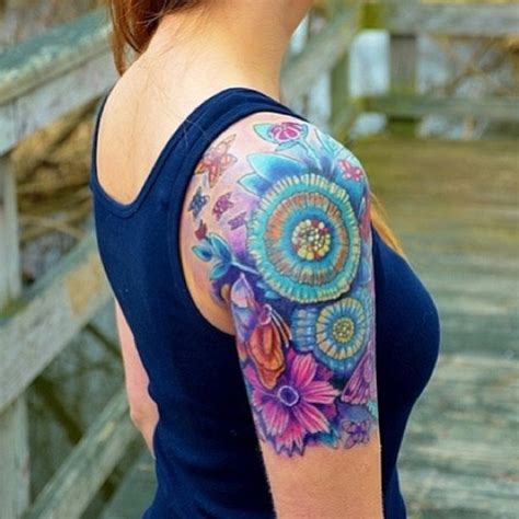 colorful unique flower sleeve woman s tattoo