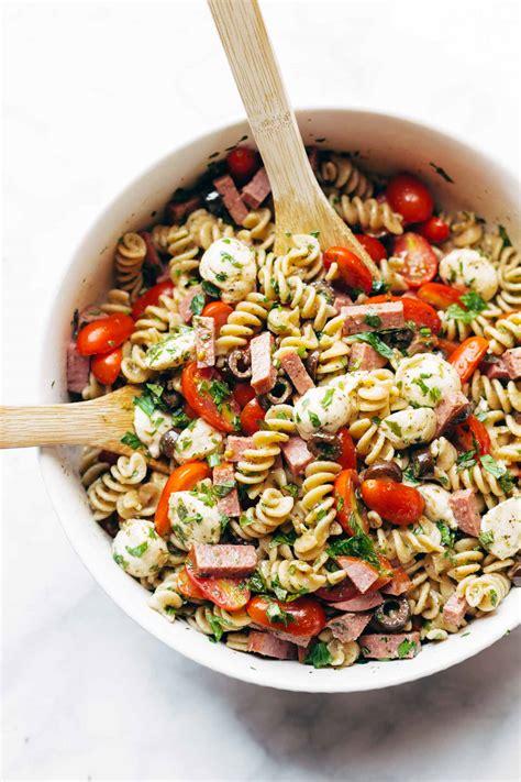 pasta salad recipe best easy italian pasta salad recipe pinch of yum