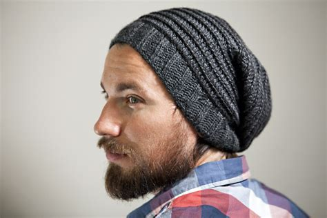 mens slouchy beanie knitting pattern free s knit crochet slouchy hat in charcoal with spiral