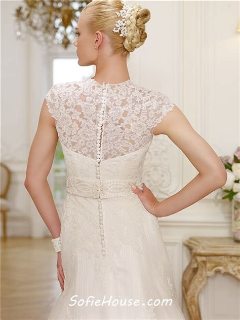 beaded capelet wedding a line high neck cap sleeve lace modest wedding dress with