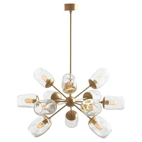 seeded glass chandelier marcellus modern seeded glass brass burst chandelier