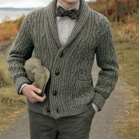 Mens Cable Knit Cardigan Tulips Clothing