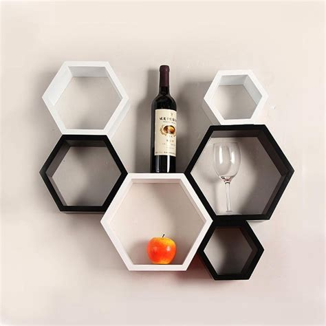 hexagon bookshelves buy usha furniture wall mount shelves hexagon shape set of