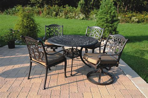 cast aluminum patio furniture sets patio furniture dining set cast aluminum 5pc valencia