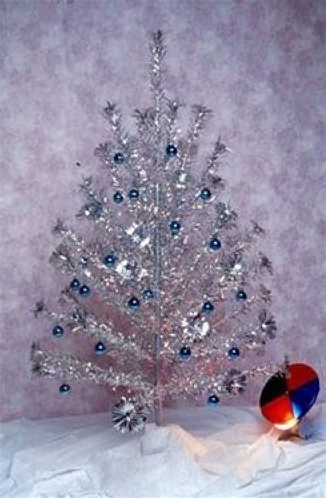 1960 silver tree aluminum tree with light wheel sheri s retro