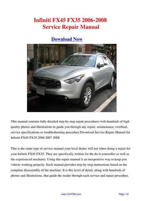 infiniti fx35 owners manual pdf download autos post