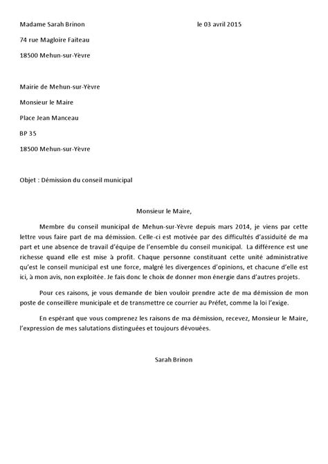 Modification Du Contrat De Travail Pour Raison Personnelle by Modele Lettre De Demission De Maire Document