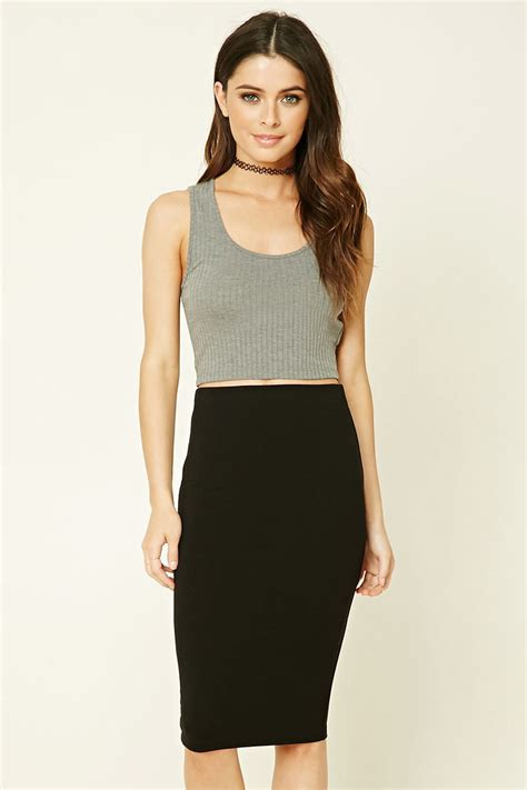 knitted bodycon skirt forever 21 stretch knit bodycon skirt in black lyst