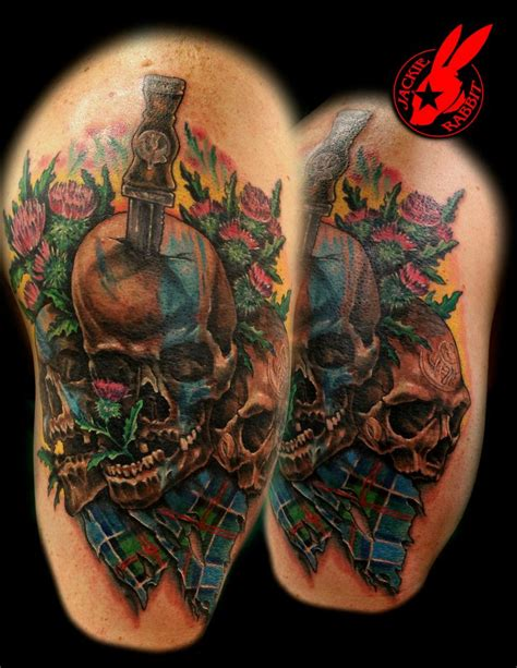 scottish skulls and tartan tattoo by jackie rabbit by