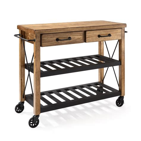 Kitchen Islands With Drop Leaf roots rack natural industrial kitchen cart crosley