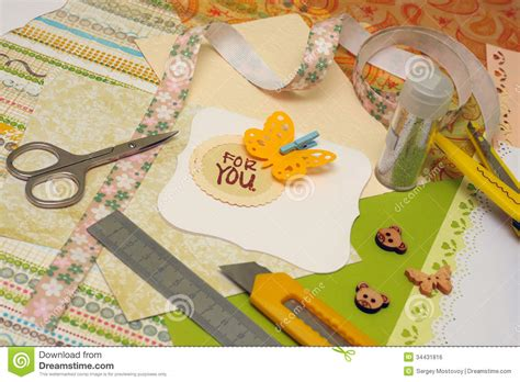 scrapbooking and card supplies scrapbooking royalty free stock image image 34431816