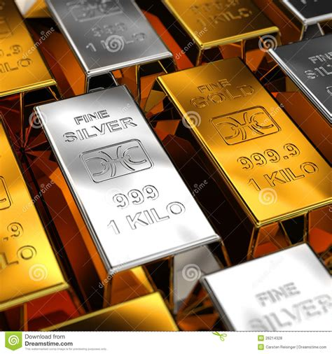 gold silver gold and silver bars royalty free stock photos image