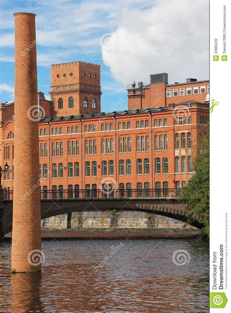 Stone Chimneys old red brick factory industrial landscape norrkoping