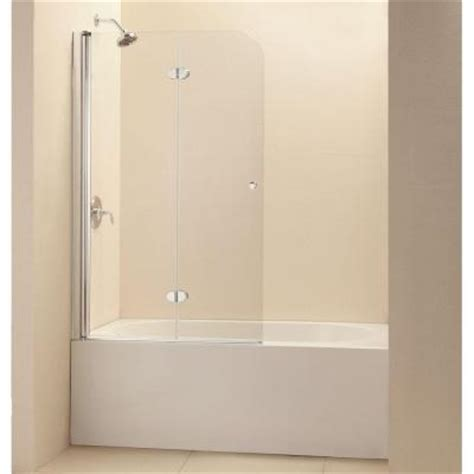 bathtub shower doors home depot dreamline aquafold 36 in x 58 in frameless pivot tub