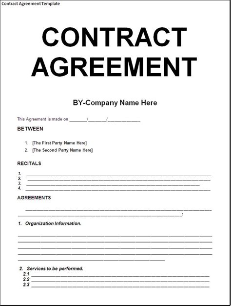 contract templates company documents