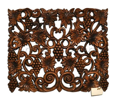 decorative woodwork grape wall panel decorative wood carving thailand sritra