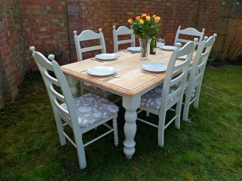 shabby chic tables and chairs beautiful 6ft oak shabby chic dining table and 6 chairs