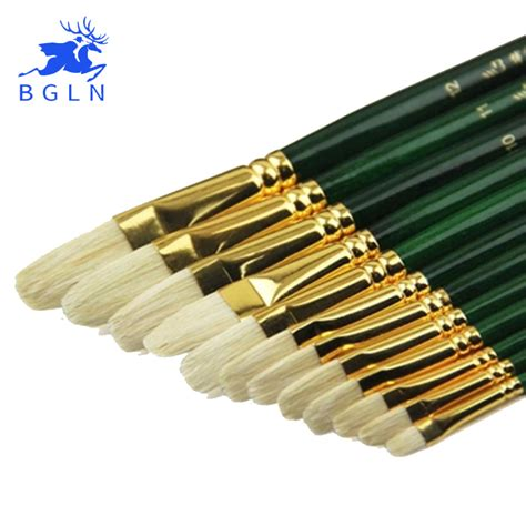 acrylic paint brush 12pcs set mixed size bristle hair paint brush acrylic