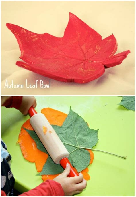clay craft ideas for fall leaf bowl air clay craft project for children