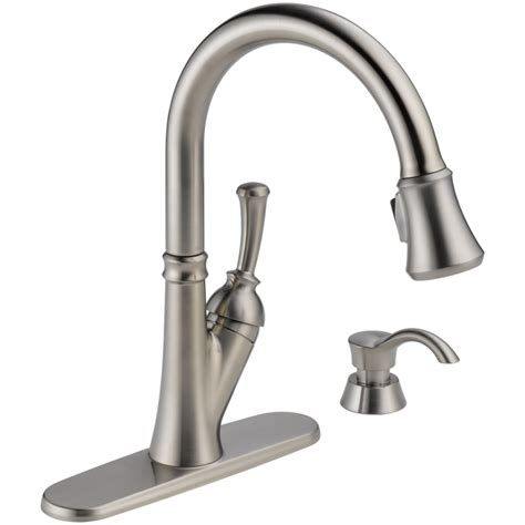 kitchen faucets at lowes shop delta savile stainless 1 handle pull kitchen