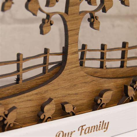 family woodworking personalised wooden layered family tree wall by