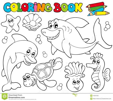 pictures of coloring books coloring book with marine animals 2 stock vector image