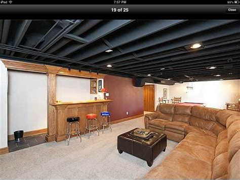 drop ceiling height paint basement rafters add lighting instead of drop