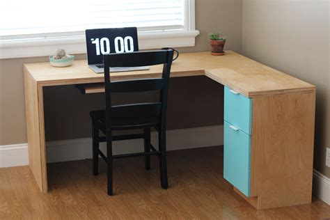 diy l desk l shape modern plywood desk do it yourself home projects