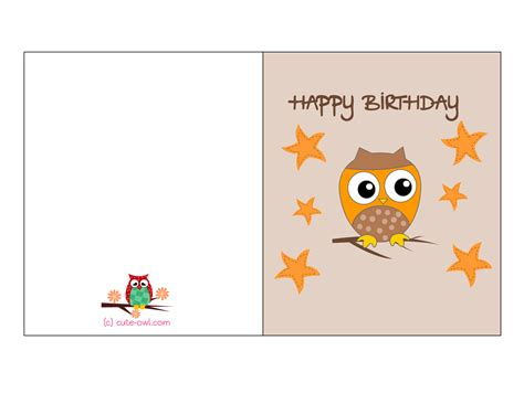 make free cards to print free printable owl birthday cards
