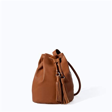 bag with zara leather bag with tassels in brown leather lyst