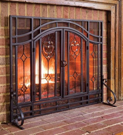 fireplace screen with glass doors fireplace screen place beveled glass doors