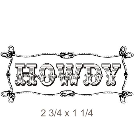 rubber st font with border west themed howdy rubber st with by