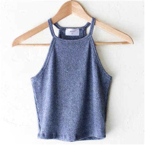 knitted halter top knit halter crop top dusty blue from nyct clothing