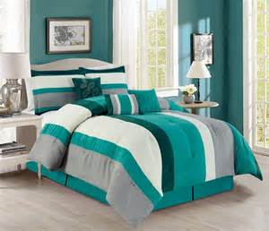teal and grey comforter set 7 stripe micro suede teal ivory gray comforter set
