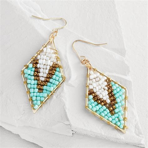 Turquoise And Bronze Beaded Triangle Drop Earrings World