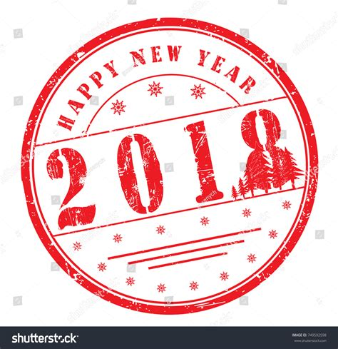 happy new year rubber st happy new year 2018 grunge rubber stock vector 749592598